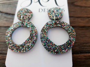 Statement Asymmetric Organic Circle Rainbow Glitter Mix Acrylic Dangle Earrings - Silver and Resin Designs