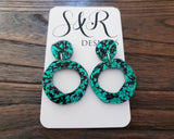 Statement Asymmetric Organic Circle Emerald Black Acrylic Dangle Earrings - Silver and Resin Designs