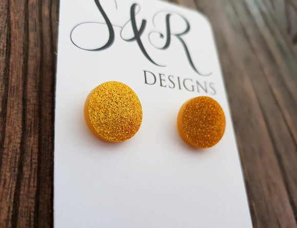 Gold Glitter Circle Stud Earrings Acrylic - Silver and Resin Designs