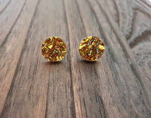 Gold Holographic Mix Glitter Circle Stud Earrings Acrylic - Silver and Resin Designs