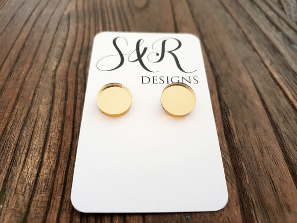 Gold Mirror Circle Stud Earrings Acrylic - Silver and Resin Designs