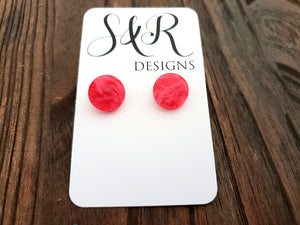 Circle Stud Earrings Pink Pearl Acrylic - Silver and Resin Designs