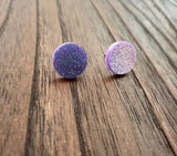 Circle Stud Earrings Purple Glitter Acrylic - Silver and Resin Designs