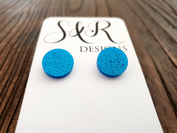 Circle Stud Earrings Blue Glitter Acrylic - Silver and Resin Designs