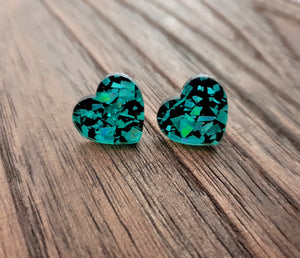 Heart Stud Earrings Emerald Green & Black Glitter Acrylic - Silver and Resin Designs
