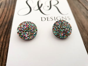 Circle Stud Earrings Rainbow Glitter Acrylic - Silver and Resin Designs