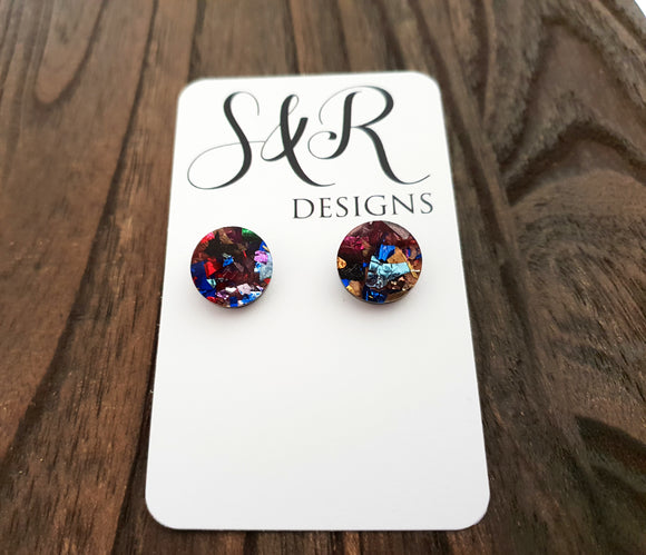 Circle Stud Earrings Multi  Colour Acrylic - Silver and Resin Designs