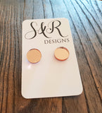 Rose Gold Mirror Circle Stud Earrings Acrylic - Silver and Resin Designs