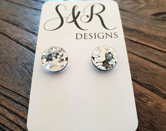Silver Chunky Glitter Circle Stud Earrings Acrylic