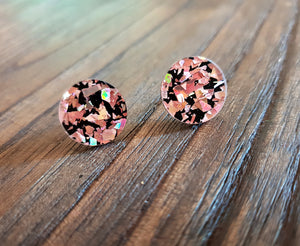 Circle Stud Earrings Rose Gold & Black Glitter Acrylic - Silver and Resin Designs