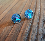 Blue Black Circle Stud Earrings Acrylic - Silver and Resin Designs