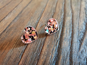 Heart Stud Earrings Rose Gold & Black Glitter Acrylic - Silver and Resin Designs
