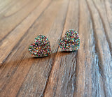 Heart Stud Earrings Rainbow Glitter Acrylic - Silver and Resin Designs