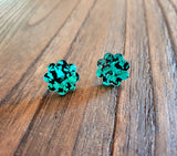 Flower Stud Earrings Emerald Green & Black Glitter Acrylic - Silver and Resin Designs