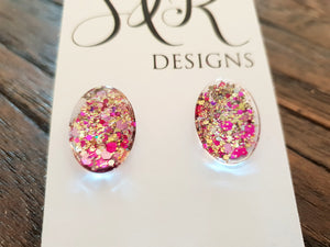 Oval Glass Glitter Resin Stud Earrings Gold Pink Glitter Earrings - Silver and Resin Designs