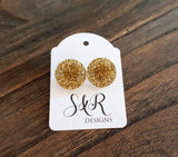 Circle Stud Earrings Gold Glitter Acrylic - Silver and Resin Designs