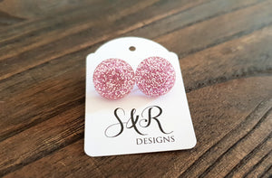 Circle Stud Earrings Light Pink Glitter Acrylic - Silver and Resin Designs