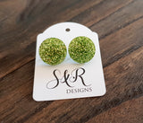 Circle Stud Earrings Green Glitter Acrylic - Silver and Resin Designs