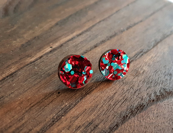 Circle Stud Earrings Teal Red Mix Glitter Acrylic - Silver and Resin Designs