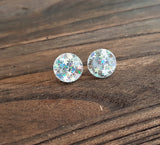 Circle Stud Earrings Holographic Star Glitter Acrylic - Silver and Resin Designs