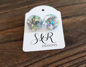 Circle Stud Earrings Holographic Star Glitter Acrylic