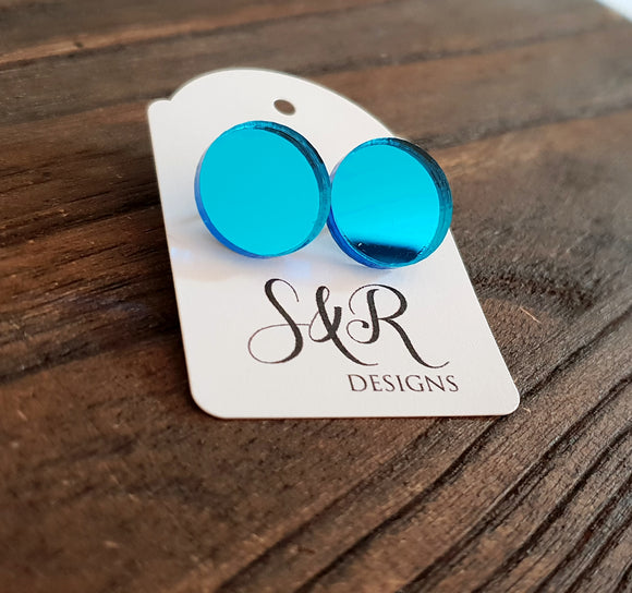 Light Blue Mirror Circle Stud Earrings Acrylic - Silver and Resin Designs