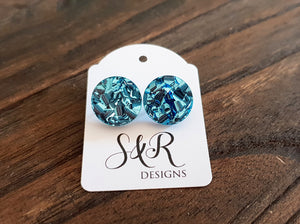 Circle Stud Earrings Light Blue Chunky Glitter Acrylic - Silver and Resin Designs