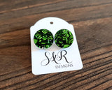 Circle Stud Earrings Green Chunky Glitter Acrylic - Silver and Resin Designs