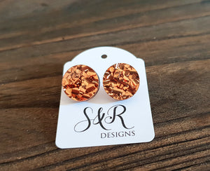 Circle Stud Earrings Copper ChunkyGlitter Acrylic - Silver and Resin Designs