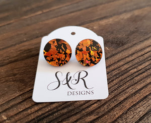 Circle Stud Earrings Orange & Black Glitter Acrylic - Silver and Resin Designs