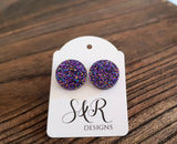 Circle Stud Earrings Purple Galaxy Glitter Acrylic - Silver and Resin Designs