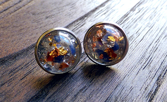 Beautiful Tasmanian Mixed Semi Precious Minerals Resin Stud Earrings 16mm - Silver and Resin Designs