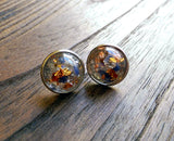 Beautiful Tasmanian Mixed Semi Precious Minerals Resin Stud Earrings 12mm - Silver and Resin Designs