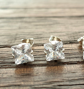 Sterling Silver Square Cut CZ Stud Earrings, Cubic Zirconia Stud Earrings Choose: 3mm to 9mm