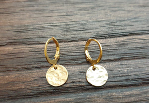 Gold Hammered Circle Disc Leverback Earrings, Stainless Steel Dangle Leverback