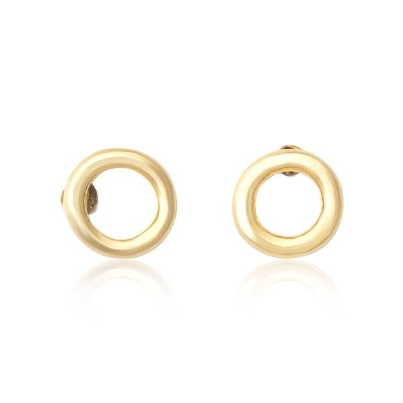 Sterling Silver Circle Loop Stud Earrings Choose Silver or Gold - Silver and Resin Designs
