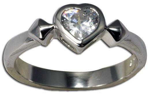 Sterling Silver 925 High Polish Clear CZ Heart Rhodium Plated Ring - Silver and Resin Designs