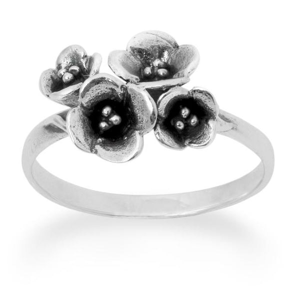 Four Flower Design Ring Sterling Silver 925 Real Silver Oxide - Silver and Resin Designs