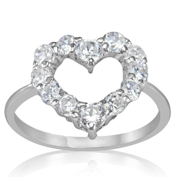 Sterling Silver Rhodium Plated Open Heart Cubic Zirconia Ring - Silver and Resin Designs