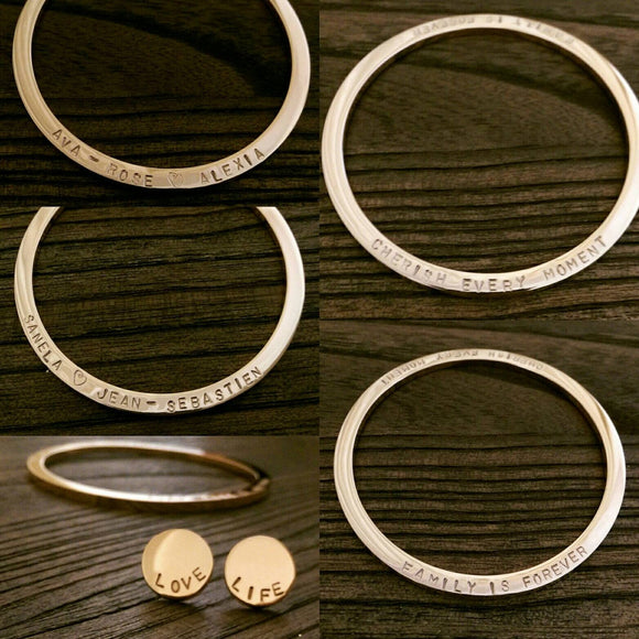 Personalised Bangle, Stainless Steel Hand Stamped Personalised Bangle Choose Colour Silver, Gold, Rose Gold & Size