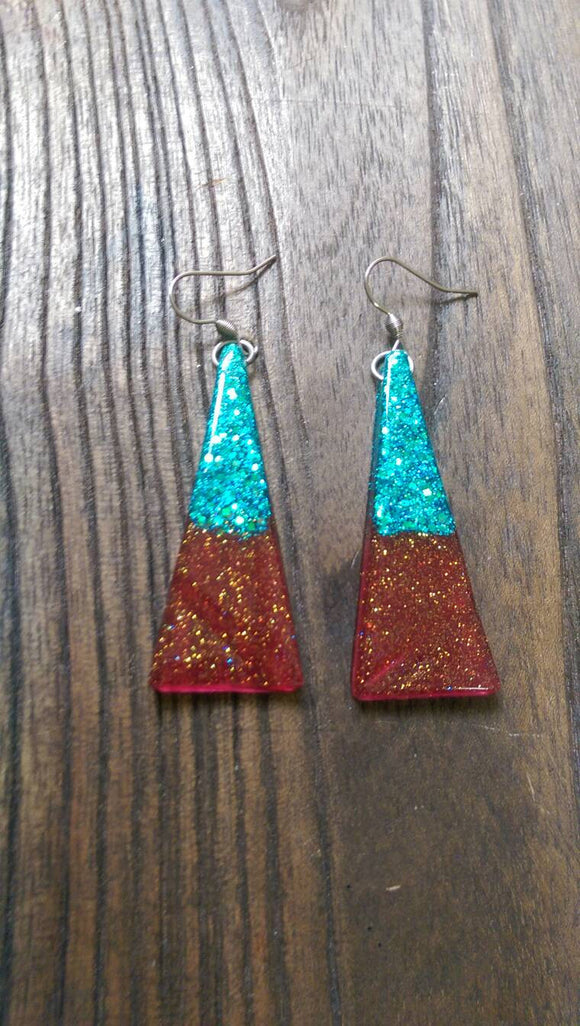 Triangle Long Earrings, Red Turquoise Sparkly Glitter Resin Earrings Stainless Steel