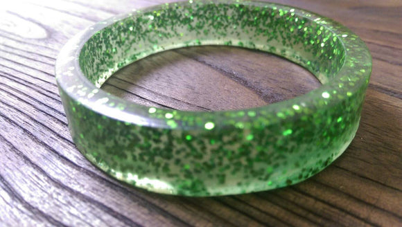 Green Glitter Resin Bangle, Sparkly Glitter Resin Handmade, Wide Bangle