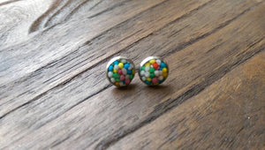 Candy Resin Stud Earrings made of Stainless Steel 100's & 1000's 10mm Choose Style Plain or Bottle Cap Design