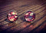 Heart Resin Stud Earrings made glitter and Stainless Steel 10mm - Silver and Resin Designs