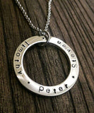 Stainless Steel Personalised Hand Stamped Name Necklace add names or words 36mm Pendant - Silver and Resin Designs