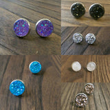 Sparkly Faux Druzy Stud Earrings made of Stainless Steel 12mm Black, Aqua, Silver, Rose Gold, Purple or White