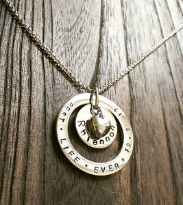 Personalised Hand Stamped Name Necklace add names or words with Heart charm - Silver and Resin Designs