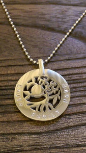 "Hand Stamped Tree of Life Circle 30mm Silver Necklace ""Laugh Family Love"" Last one ready to post."