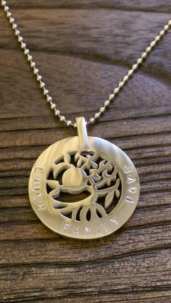 Hand Stamped Tree of Life Circle 30mm Silver Necklace