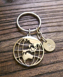 Personalised Hand Stamped Globe Key Ring Stainless Steel - Silver and Resin Designs